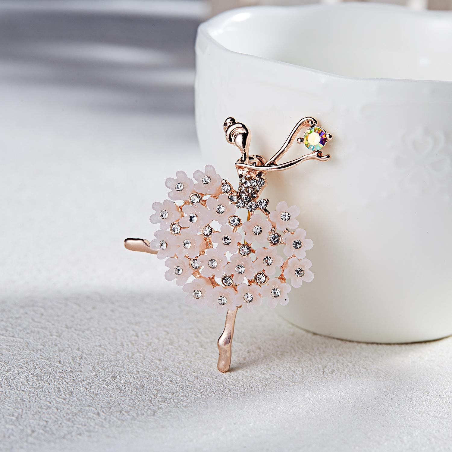 Wedding Swan Lake Factory Direct Sale Ballet Dancing Girl Shinning Crystal Glass Brooches for Woman in assorted designs