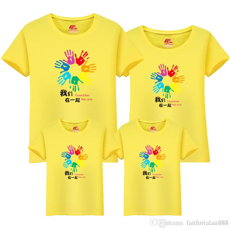 New Arrived Mother Baby Daughter Family Matching Outfits Clothes Handprint Cotton Casual Tops Summer Short Sleeve Lovers Couple t shirts