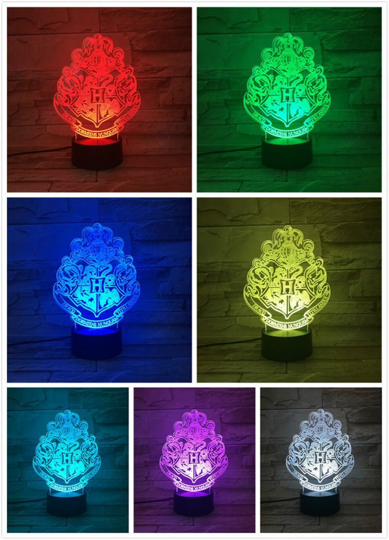 RGB 3D Night Lights Magic School LED Decor Lamp Bedroom table light Kids toys