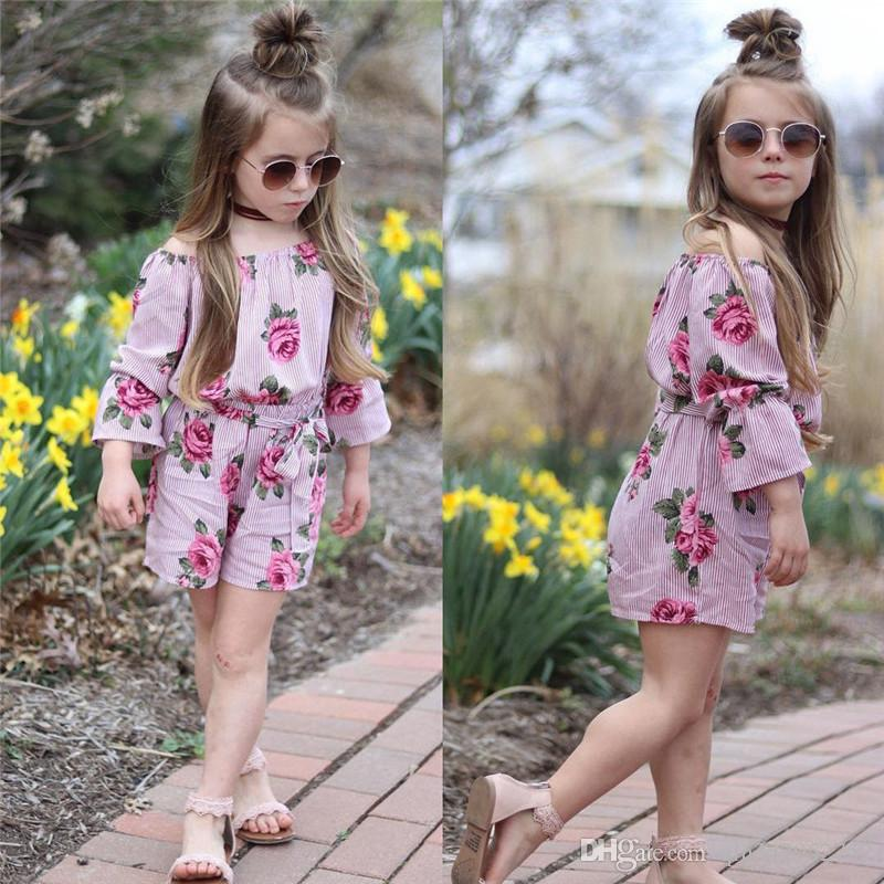 2019 Fashion Newest Pretty Toddler Kids Baby Girl Floral Bodysuit Sunsuit Playsuit Cotton Kids Girls Clothes 1-5T