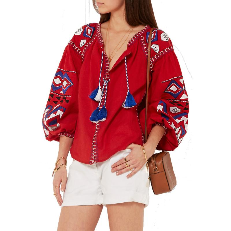 Floral Embroidered Maxican Blouse Top Autumn Long Sleeve Tassel Tie In Fronts Hippie Boho Chic Style Cotton Ethnic Womens Shirts J190614
