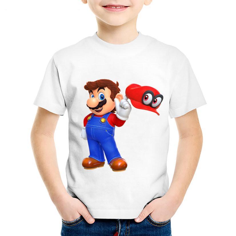 e551505c4 Compre Impresión De Dibujos Animados Para Niños Dabbing Super Mario Funny  Camiseta Niños Camisetas De Verano Niños   Niñas Tops Ropa Linda Para Bebés
