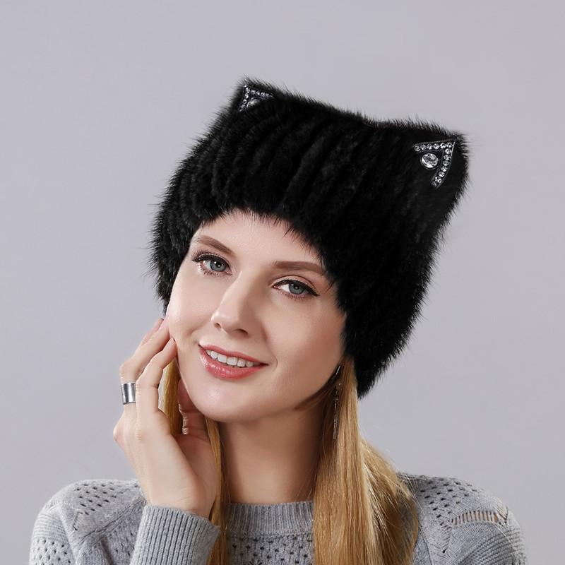 fa2562ea862 Winter Mink Fur Cute Cat Ears Square Cap With Sequins Warm Winter For Women  Real Natural Mink Fur Vertical Weaving Winter Hat S18120302 Knitted Hat Cap  Hat ...