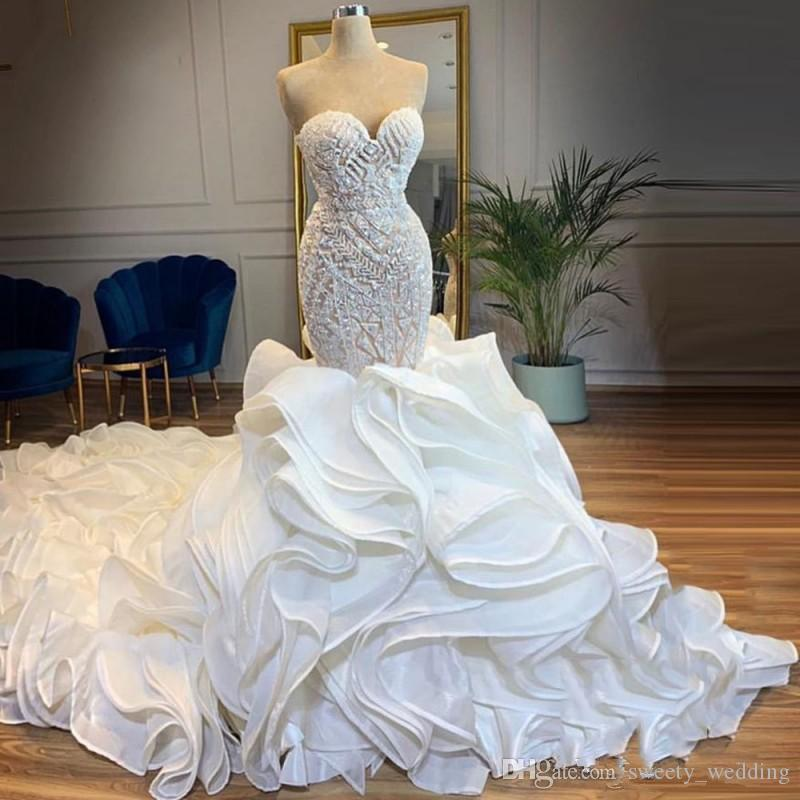 Luxury Chapel Train Mermaid Wedding Dresses Sweetheart Beads Crystals Ruffles Tiered Bridal Gowns vestido de noiva Lace Up Back