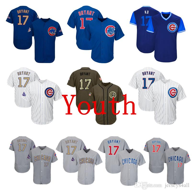 best service 833bd 34e9f Youth Kids Child Chicago Cubs #17 Kris Bryant Baseball Jerseys White Blue  Gray Grey Gold Green Salute Players Weekend All Star
