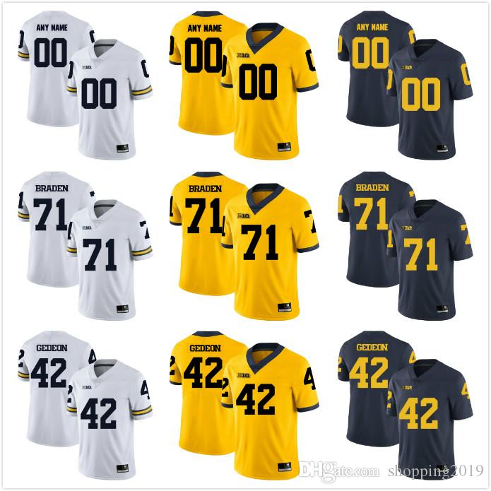 Custom Mens Youth women Michigan Wolverines 42 Ben Gedeon 80 Alan Branch Any Name Any Number Personalized NCAA College Football Jerseys