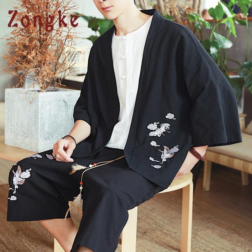 20a7ff9cd78ff Satın Al Zongke Vinç Nakış Keten Kimono Hırka Ceket Japon Kimono Erkekler  Ceket Streetwear Giyim Erkek Ceket Erkekler 2019, $27.22 | DHgate.Com'da