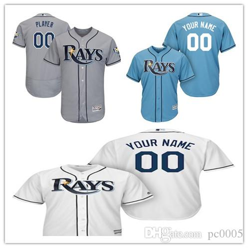 4eaba4507a0 2019 Men S Tampa Bay Rays Light Blue Cool White Majestic Gray 20th  Anniversary Road On Field Patch Flex Base Custom Jersey From Pc0005