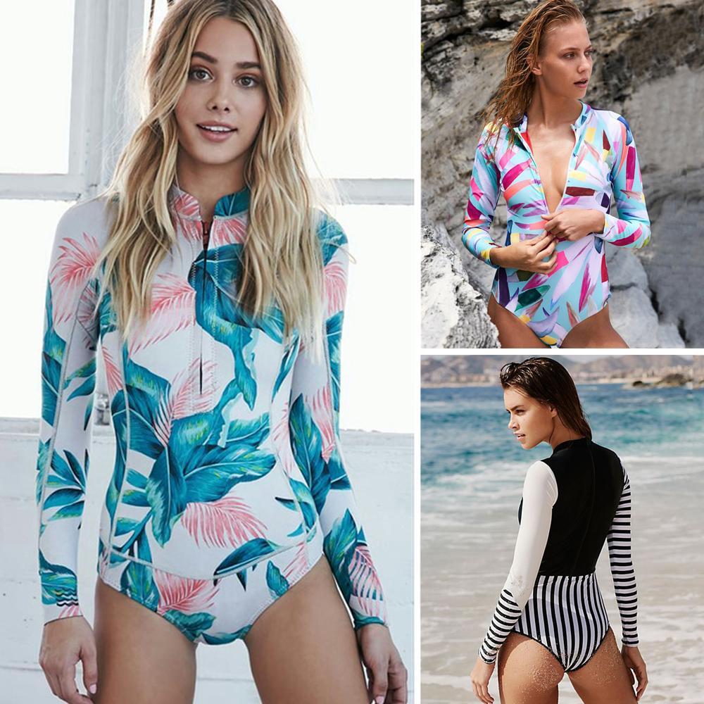 9ffc9ecf32c5 2019 2018 Print Floral One Piece Swimsuit Long Sleeve Swimwear Women ...