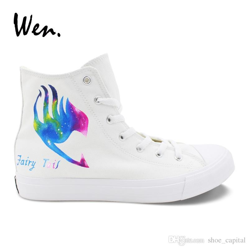 23c71a2b60f Wen Anime Hand Painted Cosplay Shoes Fairy Tail Logo Galaxy Design Canvas  Sneakers White High Top Pedal Platform Plimsolls Flats #245581 Cute Shoes  Mens ...