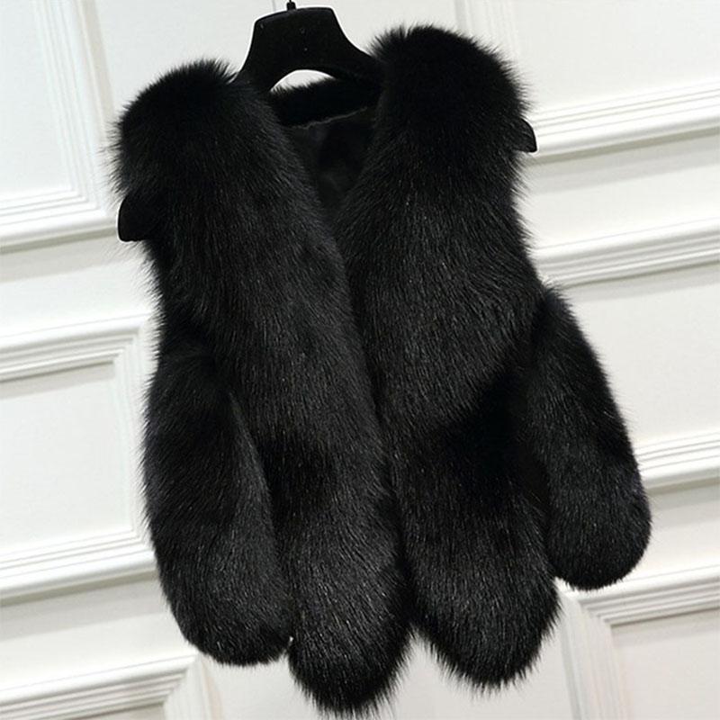 b02e670082d43 SHERAN 2018 Winter Women s Thick Warm Faux Fox Fur Vest High Quality  Fashion V-Neck Short Faux Fur Coat For Women Outwear Gilet Faux Fur Cheap Faux  Fur ...