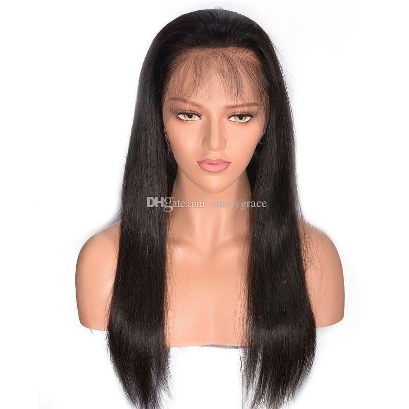 Wholesale price Brazilian virgin human hair full lace wig natural black silky straight 100% human hair remy hair on sale
