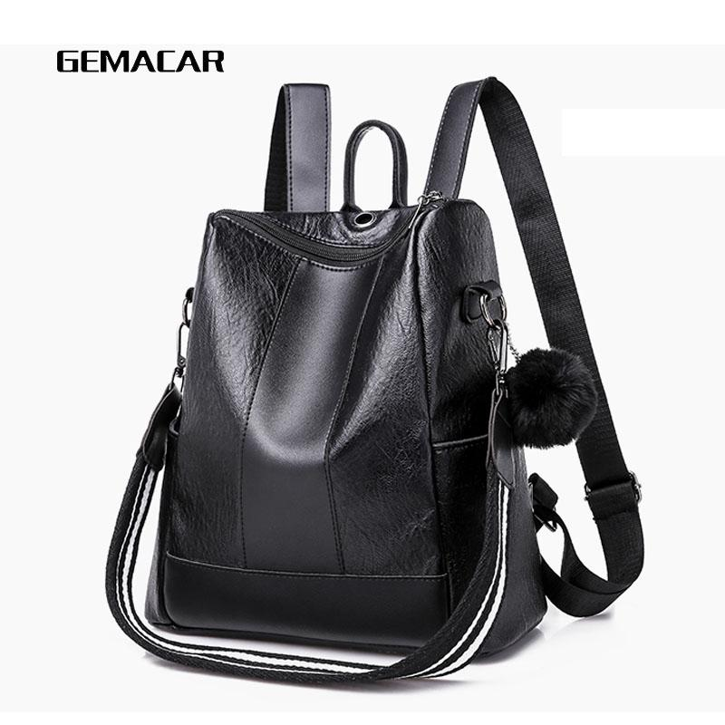 Women S Popular Backpack Bag Fashion Design Wild Young Ladies Bag Hair Ball  Decoration Pu Leather Female Backpack Black Brown Personalized Backpacks  Hunting ... e251748413
