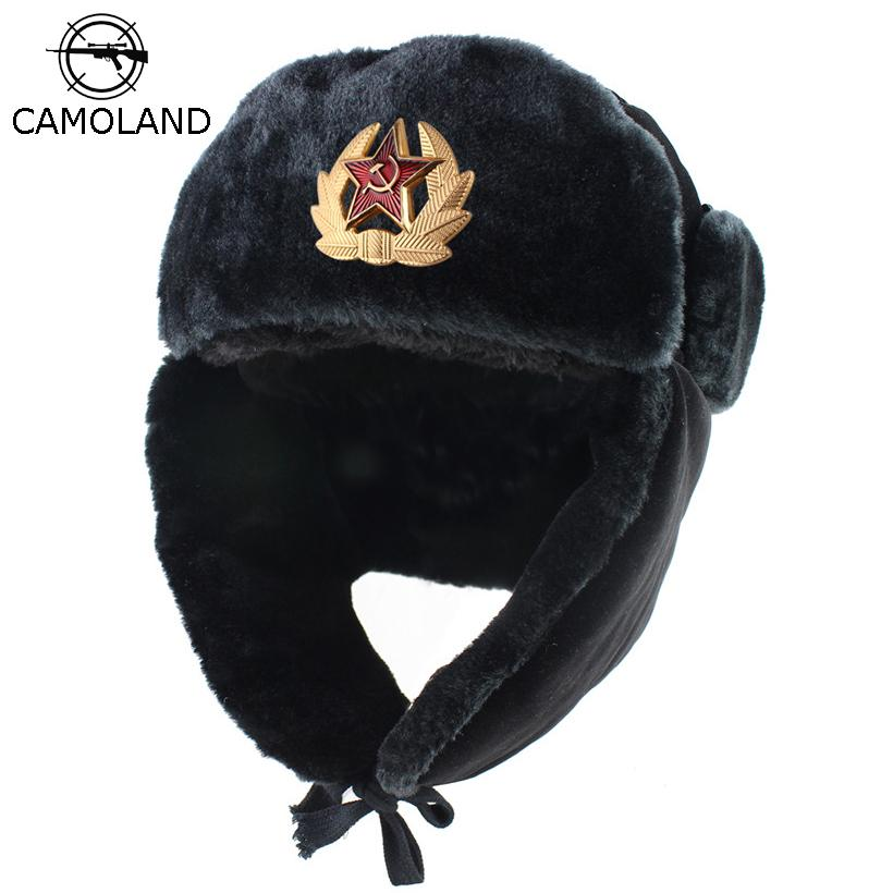8894f944d76c9 2019 Soviet Army Military Badge Russia Ushanka Bomber Hats Pilot Trapper  Trooper Hat Winter Faux Rabbit Fur Earflap Men Snow Caps From Wanyuanchun