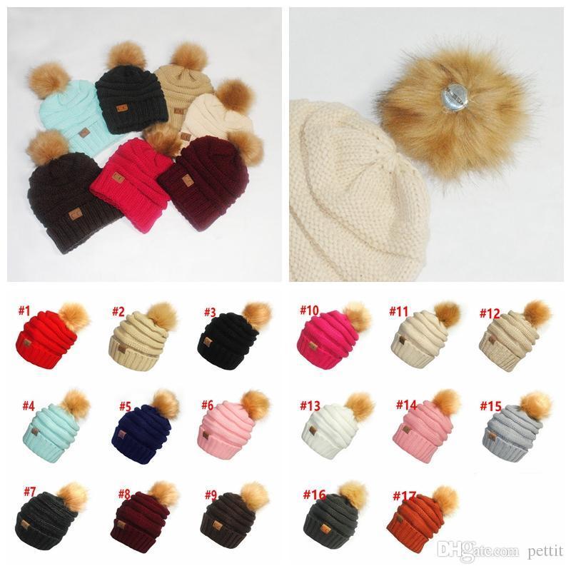 cc7ca4d2bef17 CC Pom Pom Skullies Beanies Women Winter Cap Faux Fur Pompom Beanie Knitted  Hats Baseball Hats Winter Hat From Pettit