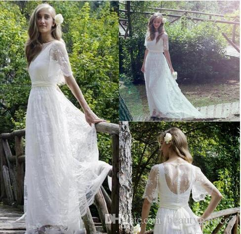Country Style A Line Scoop White Lace Wedding Dresses Floor Length Lace Short Sleeve Sheer Back Formal Bridal Wedding Gowns