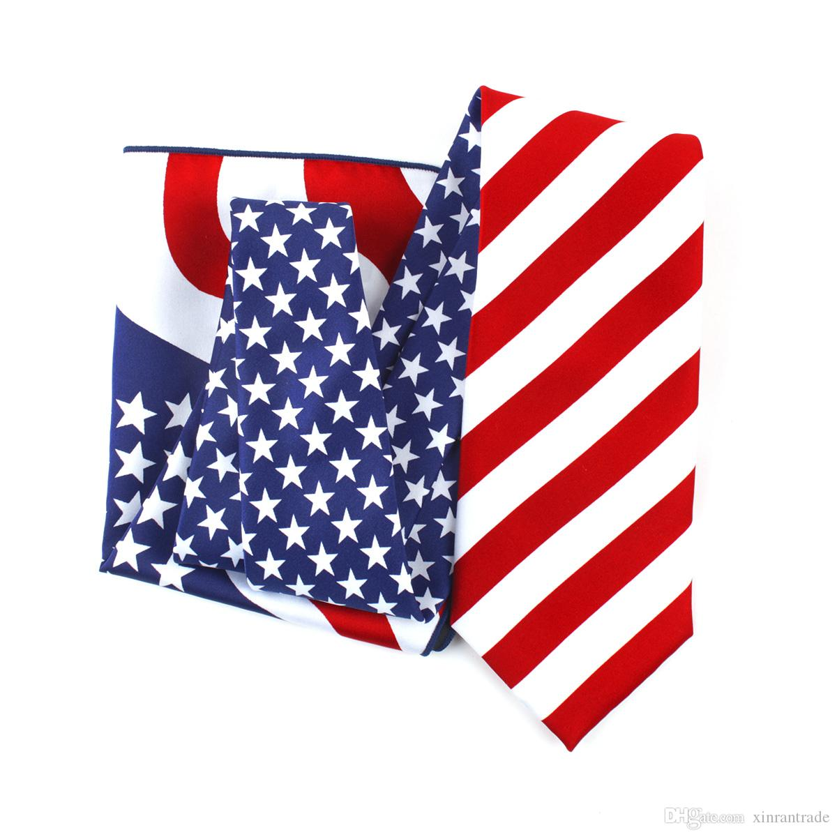 cb99776a22c 2019 American Flag Patriotic Fourth Of July Holiday Necktie Or Bow Tie USA  Flag Bowtie Set Or Necktie Set From Xinrantrade