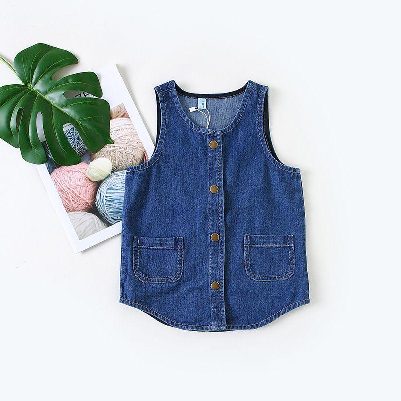 45c5adb3d 2019 Baby Girls Denim Dresses Cute Blue Solid Pocket Children Kids  Sleeveless Jeans Newborn Summer Infant Toddlers Girl Dress Clothes From  Yosicil08, ...