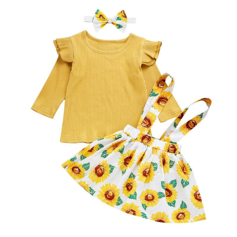 0-24M Infant Baby Girl Knitted Long Sleeve Tops Sunflower Bib Skirt Outfits Clothes Tops+Sunflower Bib Skirt+Headband