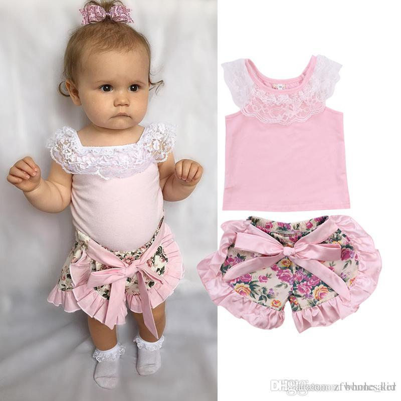 12edc75e11d 2019 2018 Infant Baby Girls Flower Pink Clothing Lace Top Floral Shorts Set Ruffles  Baby Outfit Bowknot Summer Baby Girl Clothes Boutique From Zfwholesaler