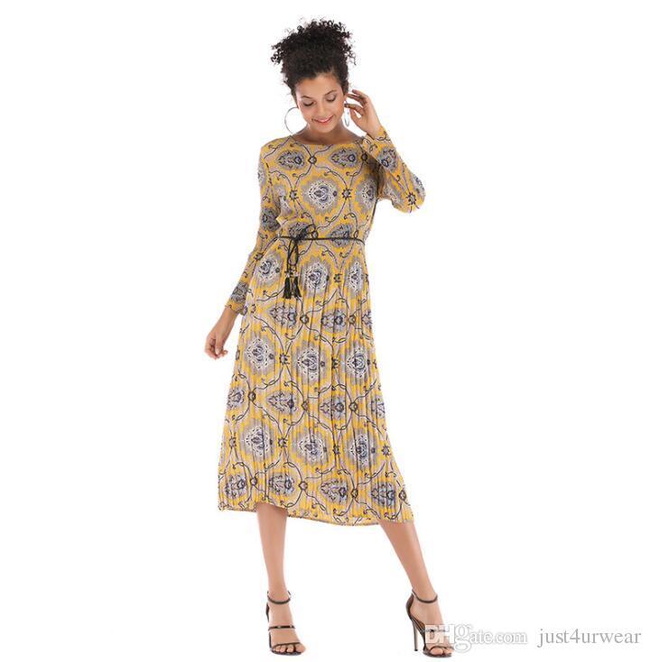 Acheter Femmes Mousseline De Soie Ceinture Design Robes Floral Slim Loose  Robes Ras Du Cou Robe À Manches Longues Dames Printemps Automne Automne  Robes Midi ... 4b570f7f075