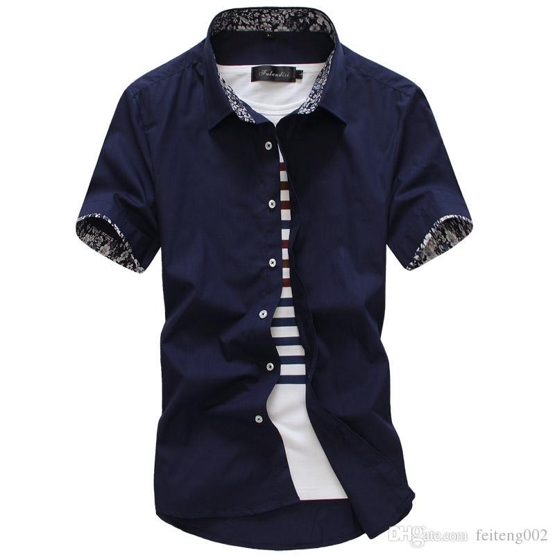 c7511f4036c MarKyi 2017 Summer Short Sleeve Floral Mens Dress Shirts Plus Size ...