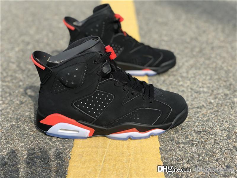 pretty nice edf84 59b6c 2018 Release Authentic 2067Jordan 6 OG Black Infrared Retro Men Basketball  Shoes Sports Sneakers 384664-060 With Original Box Size 40-47