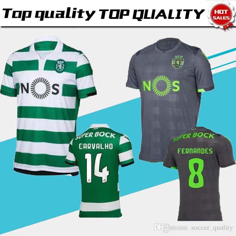 Compre 2018 209 Lisbon Sporting Clube De Futebol Jersey Longe De Casa  MARTINS FERNANDES DOST ACUNA CARVALHO BATTAGLIA 18 19 Camisa De Futebol  Jersey De ... 4af86ed065e48
