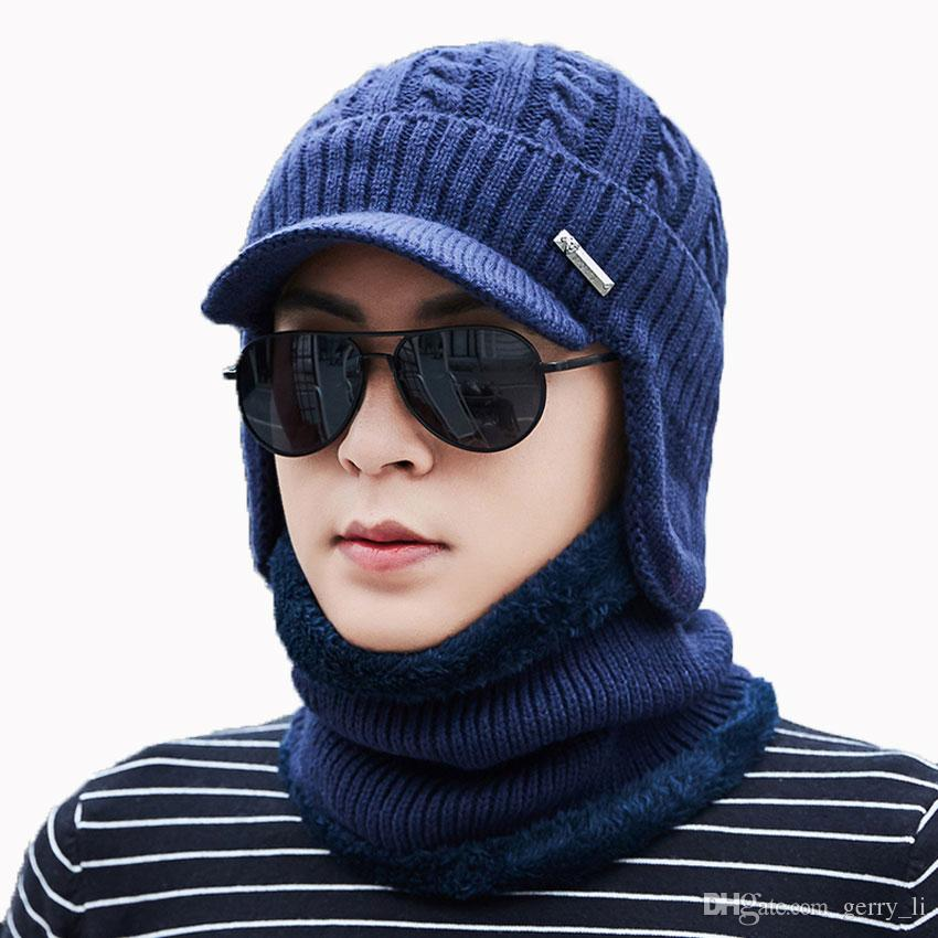 4922053677a7e Men Winter Hat And Scarf Set For Women Scarves Cap With Brim Knitted Visor  Skullies Beanies Male Warm Earflaps Caps Balaclava Knitted Hats Knit Cap  From ...