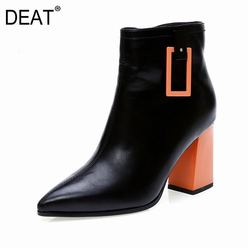 [DEAT] 2019 Sharp Toe Belt Buckle Mixed Colors Pu Leather Velvet Shoes Women Short Boots New Spring Autumn Fashion Tide 10D839