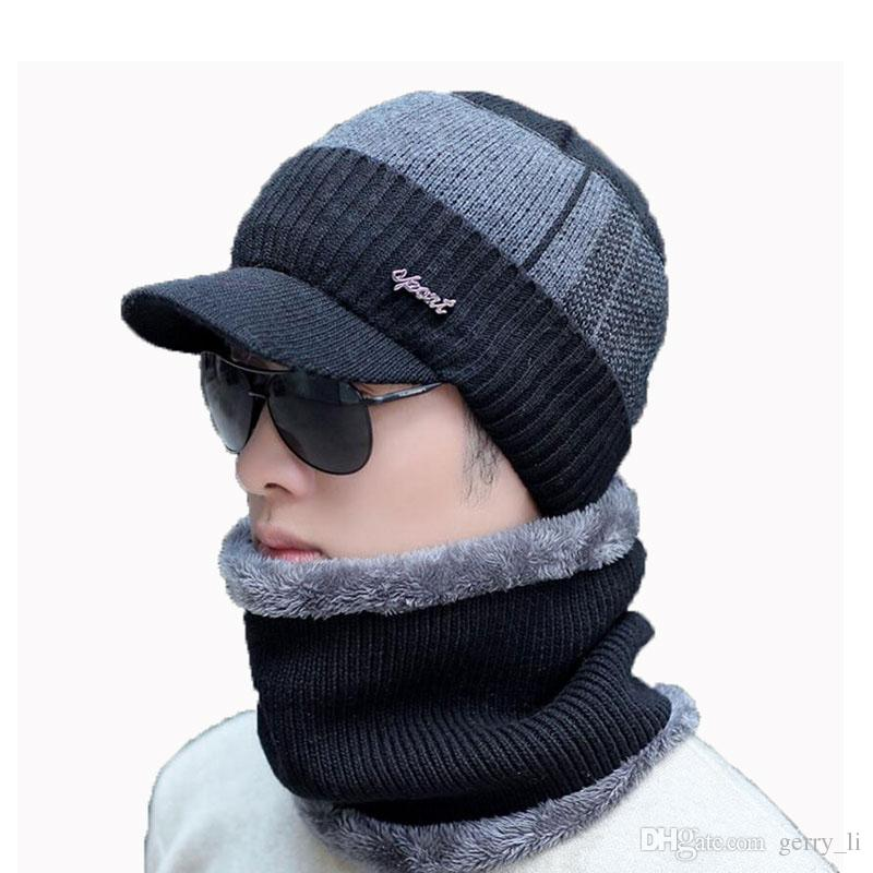 Men Winter Hat And Scarf Set For Women Male Ring Scarves Cap With ... fc97ba792eb9