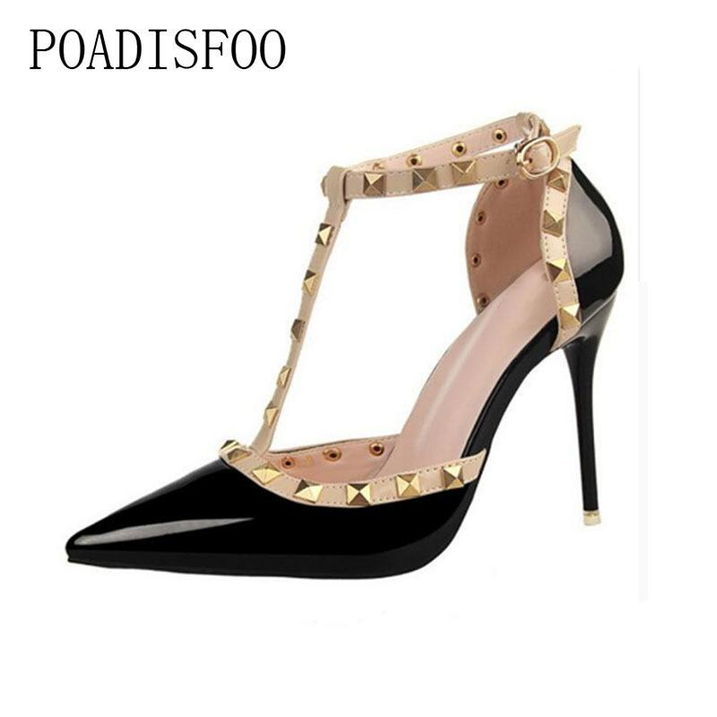 b57cab2bde9582 Dress Shoes Pumps 2019 Women S Summer Style Fashion Female Sandals Rivet  Metal Decoration Pu Leather Style Women High Heels .