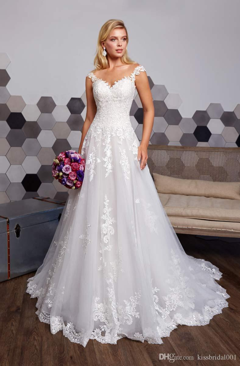 6f9954dc407 Discount Lace Wedding Dresses Illusion Neckline Cap Sleeve Sheer Back A  Line Wedding Dress Bridal Gowns Vestido De Novia Custom Wedding Dress Lace  Bridal ...