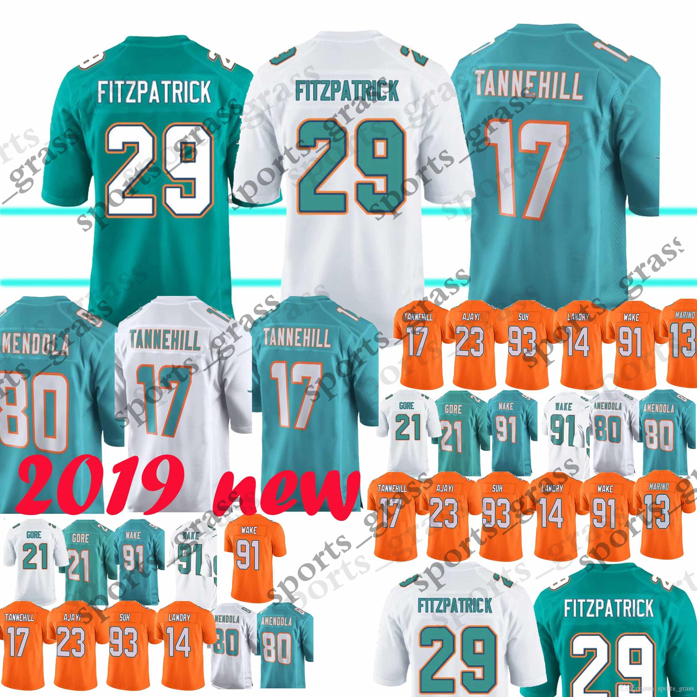separation shoes 96af9 d5cd5 Miami Jerseys Dolphins 29 Minkah Fitzpatrick 21 Frank Gore 80 Danny  Amendola 91 Cameron Wake 13 Dan Marino 17 Ryan Tannehill Jerseys 2018