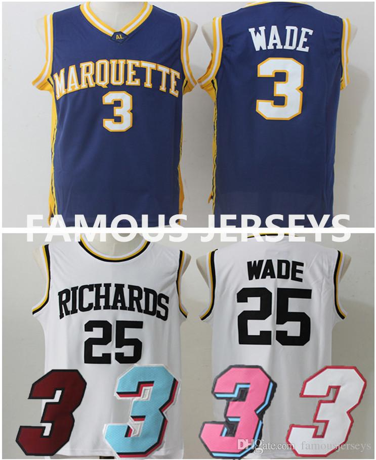 bb3eb628b 2019 College Basketball Jerseys Marquette  3 Dwyane  The Flash  Man All  Stitched Player Wear Richards High School  25 Wade Game Uniform From  Famousjerseys