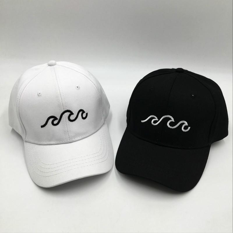 9b3e9586 Embroidery Sea Wave Dad Hat For Men High Quality Cotton Wavy Baseball Cap Hip  Hop Fashion Streetwear Kpop Snapback Hat Bone Custom Fitted Hats Design  Your ...