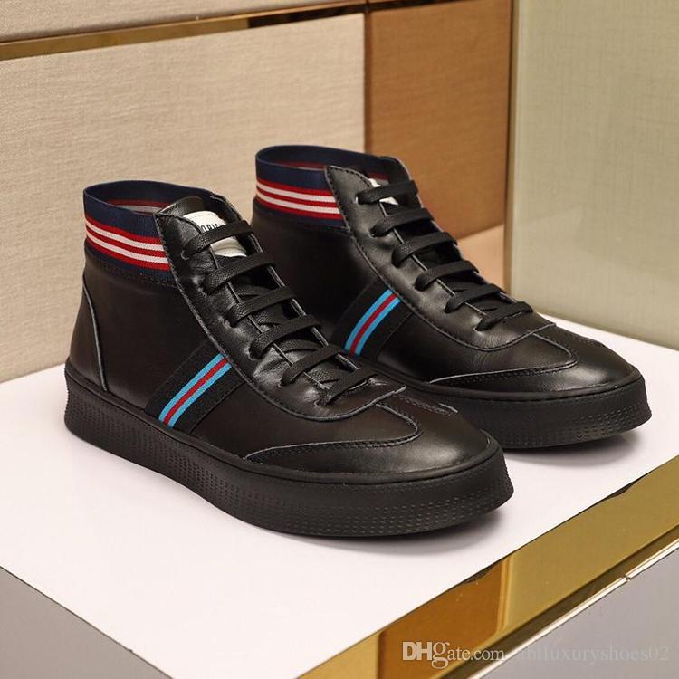 Acquista Italia Moda Uomo Scarpe Casual Design High Top Sneaker Lace Up  Stivaletti Appartamenti Scarpe Sportive Con Scatola Originale Inverno  Scarpe Casual ... 886307b95b2