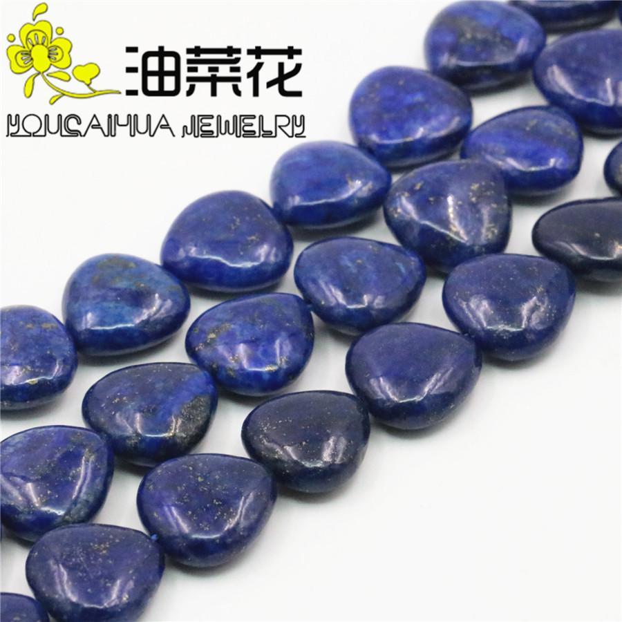3f02f9b3a1cd Accesorios azul Lapis-Lazuli suelta perlas de bricolaje bola del corazón  Semi acabado piedra calcedonia joyería mujeres niñas regalos manualidades  ...