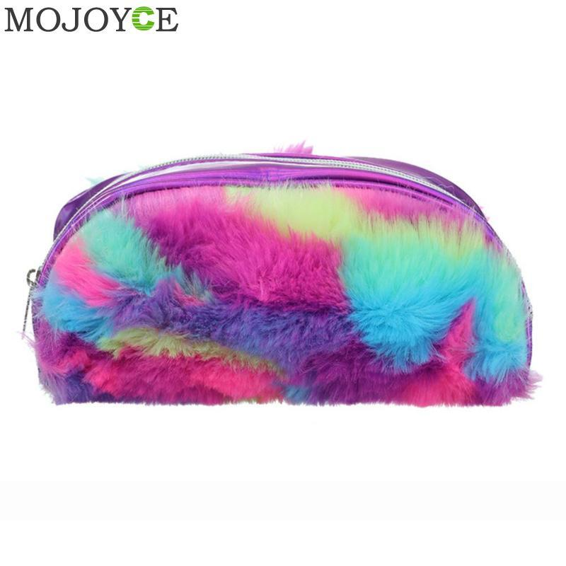Women Multicolor Hair Clutch Cosmetics Storage Bag Laser Travel Coin Purse Pen Makeup Bags for Girls Fashion Female Bag