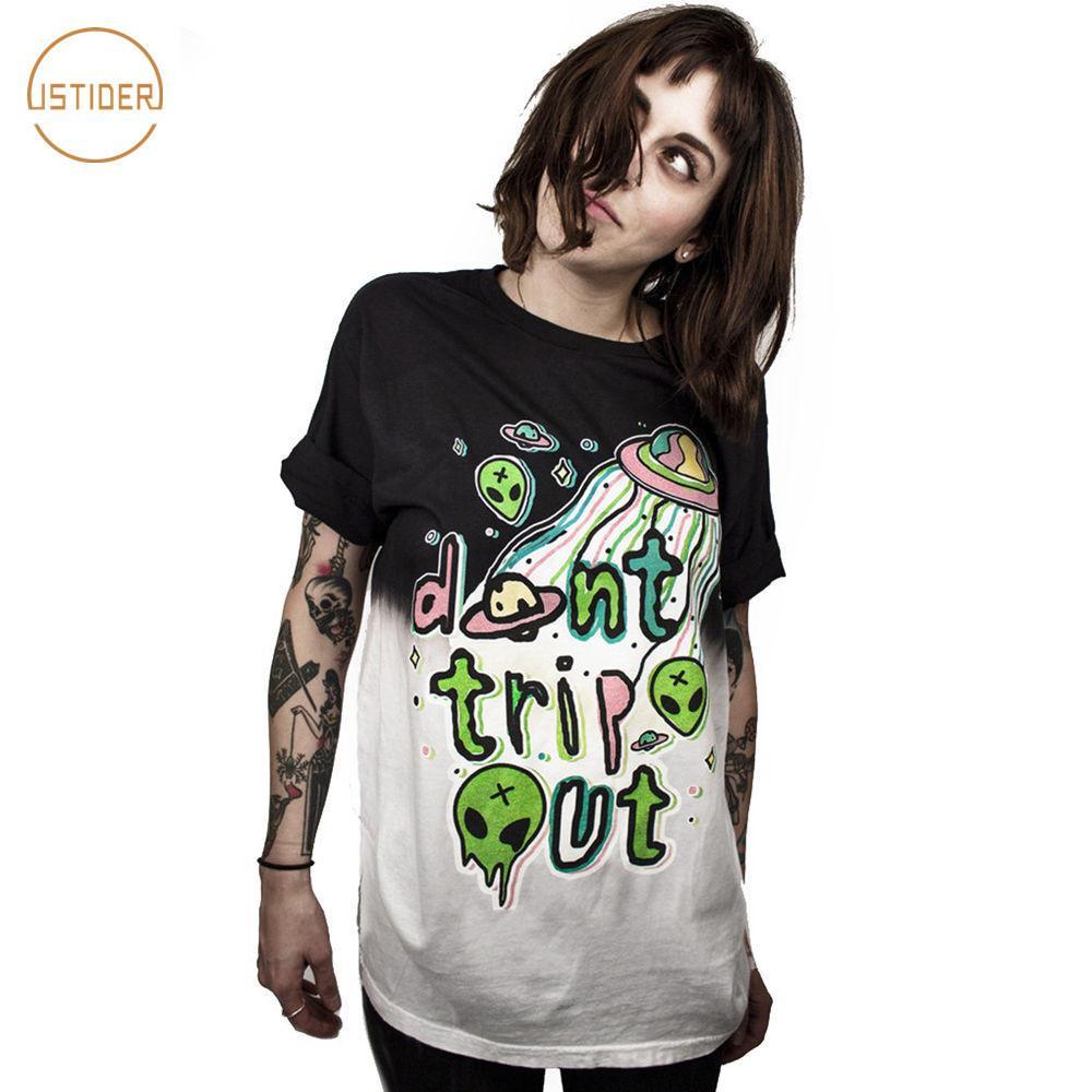 66772e62e3 Compre Istider Verão Rock And Roll T Shirt Estrangeira Ufo World Não Trip  Out Engraçado Louco Et Imprimir 3d T Shirt Mulheres   Homens Tops Preto  Branco ...