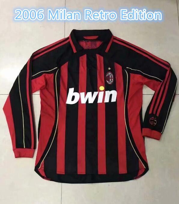 06 Hombres Camiseta Manga Larga Vintage Calcio MAGLIA Inzaghi Seedorf Nesta  Ronaldinho Kaka Retro 2006 Milan vintage conmemorativo