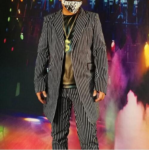 2019 New Nightclub Male Singer Ds Dj Black And White Pinstripe British Long Suit Hip Hop Stage Personality Coat Blazer Men M-5xl Discounts Price Men's Clothing