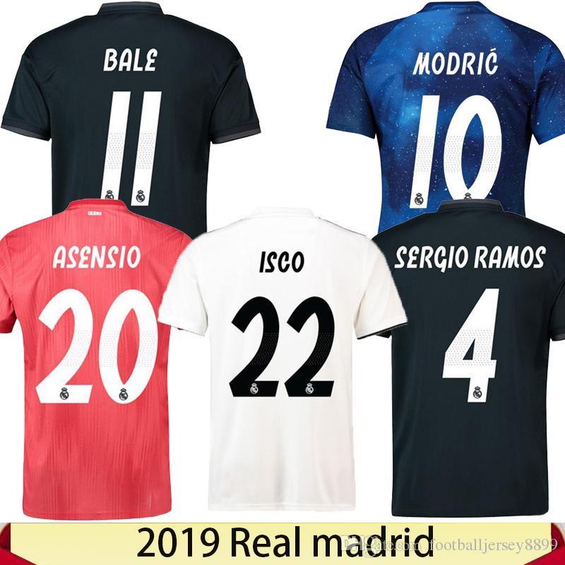 Camisetas De S 3XL Camiseta De Fútbol Real Madrid 2019 MODRIC MARIANO  ASENSIO VINICIUS JR Camiseta De Fútbol BALE RAMOS Camiseta 18 19 ISCO  Maillot Por ... 91d5a30c3dff2