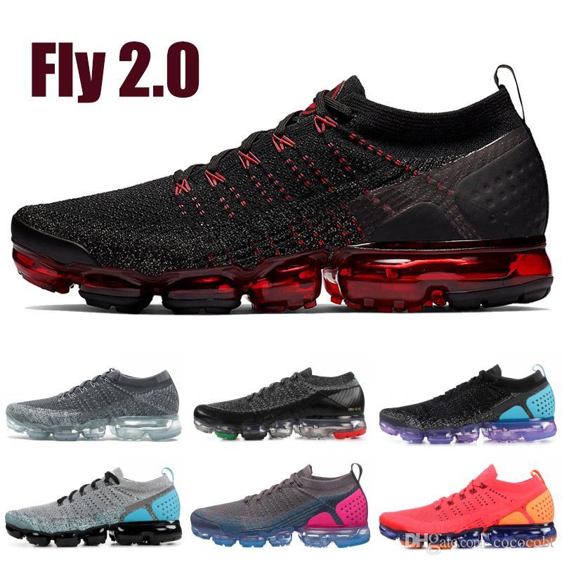 428852e225c3 2019 Fly V2 V1 Men Women Running Shoes Dark Grey Metallic Gold Triple Black  Red Orbit Oreo Designer Sneakers Trainers Sport Shoes Shoes On Sale Ladies .