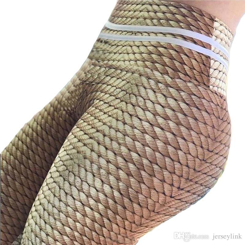 3604bd4934 2019 2019 Yoga Pants Women Print Hemp Rope High Waist Leggings Push Up Hips  Fitness Leggins Work Out Sporting Slim Yoga Trousers #20090 From  Jerseylink, ...