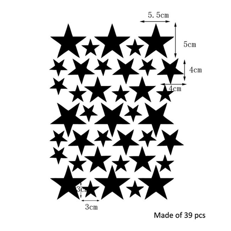 39 Star Gold Silver Black White Stars Pattern PVC DIY Wall Art Decals for Kids Room Decoration Wall Stickers Home Decor