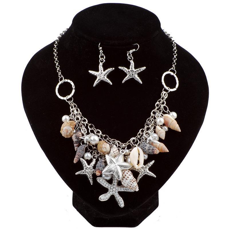 1cbafb35b37d Compre Estrella De Mar Conch Pendientes Collar Conjunto De Joyas Playa  Océano Imitación De Perla Adornos De Conchas Boho Declaración De Mujer De  Lujo ...