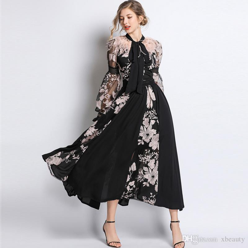 c9ad427f3375 2019 2019 Women S Runway Dresses Bow Collar Long Sleeves Embroidery Floral  Feather Patchwork Elegant Fashion Dresses From Xbeauty