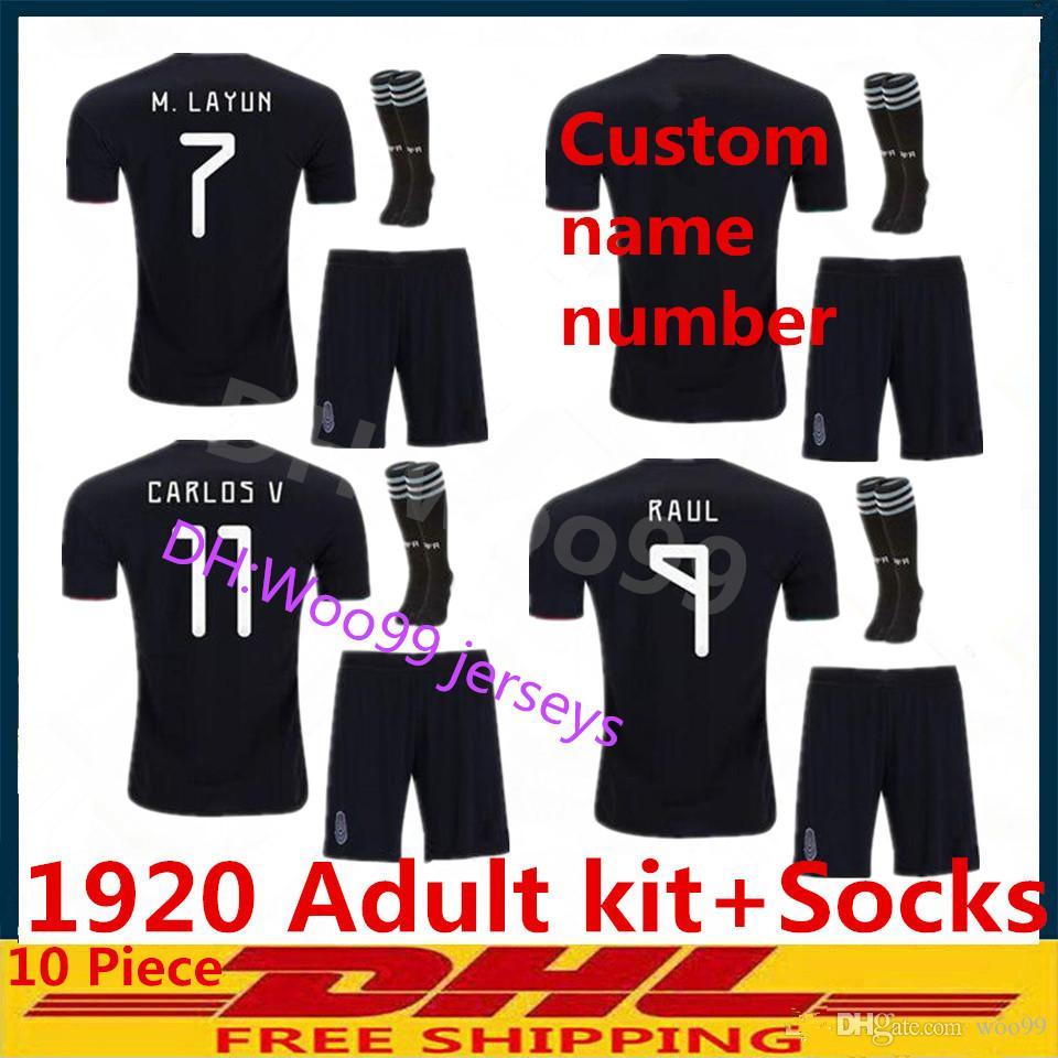 102debb900a7d 2019 Mexico Adult Kit Soccer Jersey 19 20 Home Away Black CHICHARITO G.DOS  SANTOS M.LAYUN A.GUARDADO C.VELA 2019 2020 Adult Set Football Uniform From  Woo99, ...
