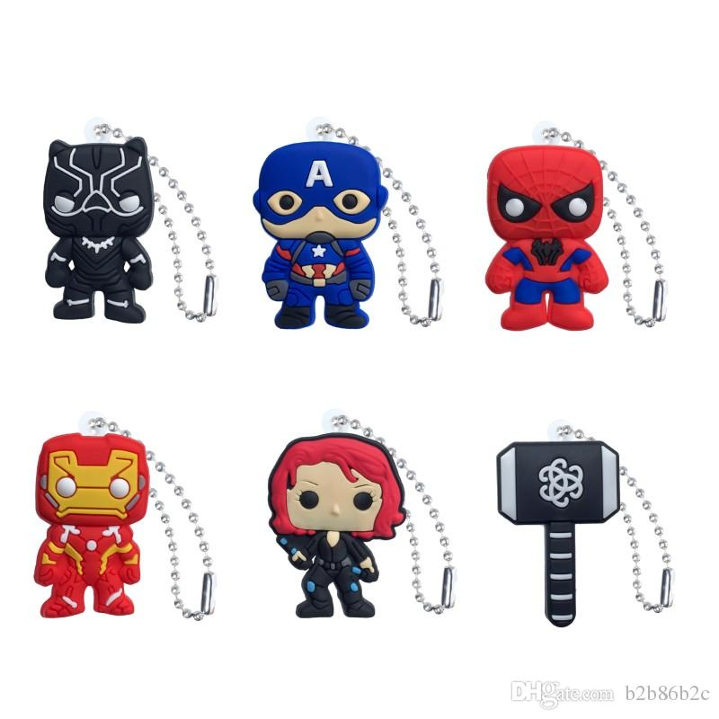 Marvel Avenger Action Figure High Quality PVC Keychain Key Ring Anime Key Chain Fashion Accessories Packed Kawaii Party Favors Kid Gift